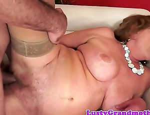 Busty grandma in stockings gets slammed everlasting