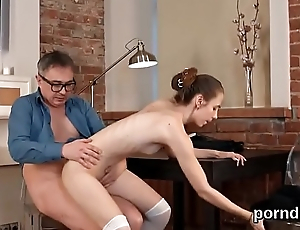 Kissable schoolgirl gets teased with an increment of shagged by her older teacher