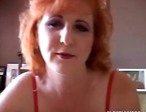 Raunchy redhead old spunker gives a sloppy oral-sex and eats cum