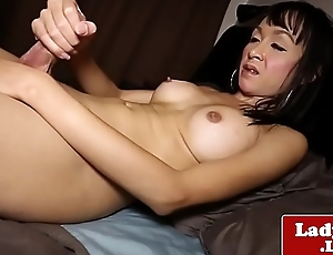 Bigtitted asian tgirl wanking uncut flannel solo