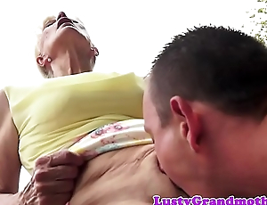 Doggystyle team-fucked gilf pounded outdoors