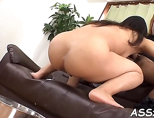 Downcast asian pussy shaving and anal-copulation