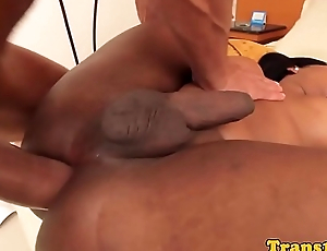 Busty latina tgirl cockriding while jerking