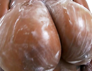 Rachel Raxxx gets her giant tits encompassing soapy and scruffy