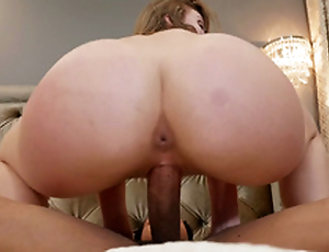 Uncomplicated busty Lena Paul seduces her black gardener